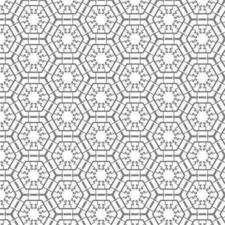 Vector abstract seamless pattern. Repeating geometric tiles with hexagonal mesh of triangles and geometric shapes