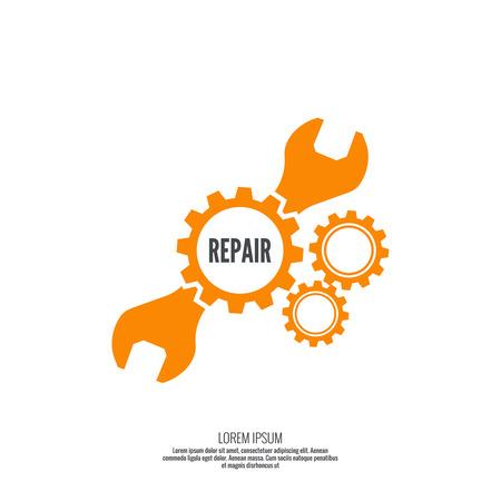 mechanic: Llave y icono de engranaje. Servicio Mecánico y la mecánica, la conexión y el trabajo de diseño de ingeniería operación.