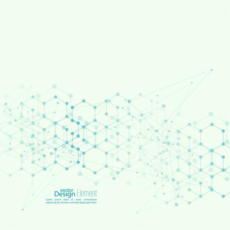 Virtual abstracte achtergrond met deeltje, molecule structuur. genetische en chemische verbindingen.