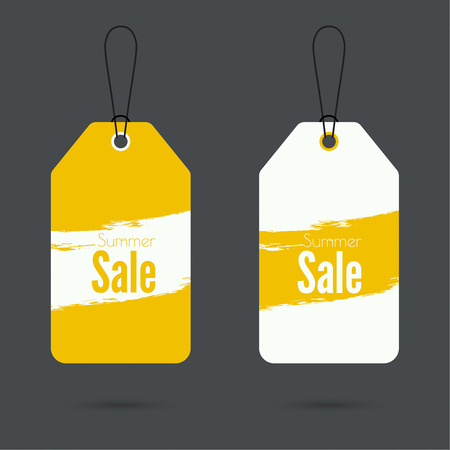 Set price tag with ribbons and labels. Summer discounts.