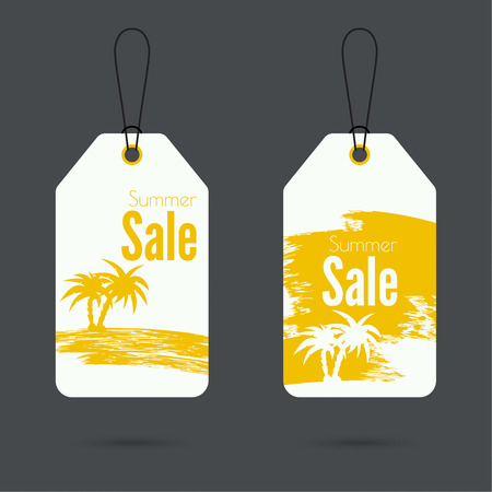 price tag: Set price tag with ribbons and labels. Summer discounts.