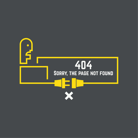 turns: 404 connection error. Abstract background with wire plug and socket. Sorry, page not found. vector.