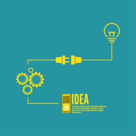 electricidad: Bombilla de la idea con el interruptor y engranajes. concepto de gran innovación de ideas inspiración, invención, pensamiento efectivo. inclusión de pensamiento Vectores