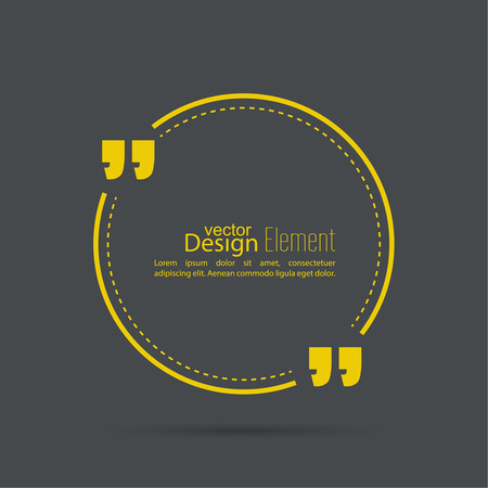 Vector abstract background with a circle and a dotted line .Quotation Mark Speech Bubble. Quote sign icon.