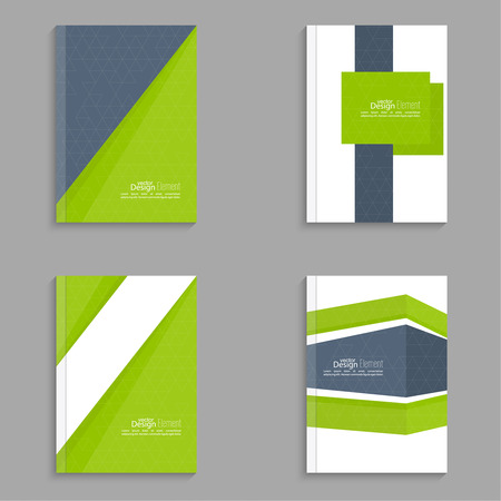 notebook design: Set Magazine Cover with origami intersecting ribbons. For book, brochure, flyer, poster, booklet, leaflet, cd cover, postcard, business card, annual report. vector illustration. abstract background