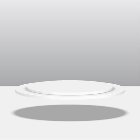 empty stage: Round floating pedestal for display. Platform for design. Realistic 3D empty podium Illustration