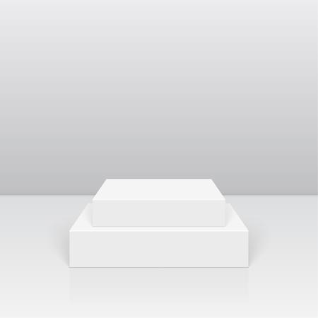 Pedestal for display. Platform for design. Realistic 3D empty podium Illustration