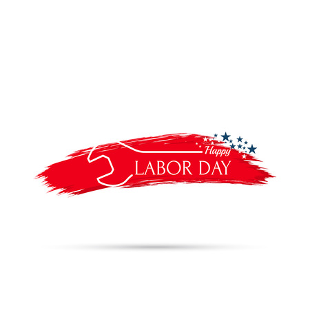 labour: Labor day banner, sign. National Day of the United States of America. wrench inscription and stars