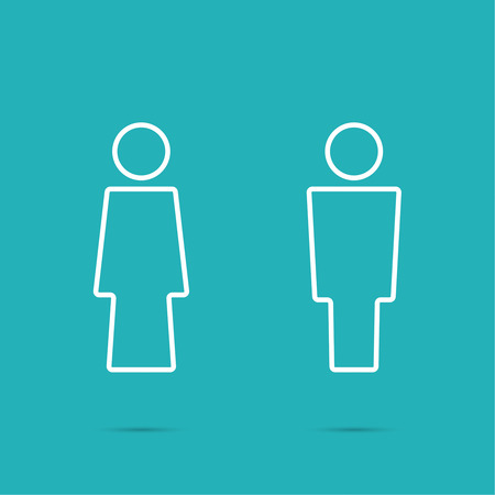 public restroom: Vector man and woman icons, toilet sign, restroom icon, minimal style, pictogram. minimal. Outline
