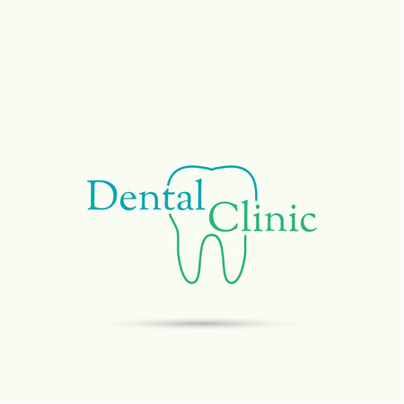 carious: Abstract vector logo design template. Tooth labeled dental clinic. emblem