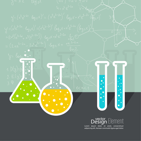 erlenmeyer: The concept of chemical science research lab retorts, beakers, flasks and other equipment.