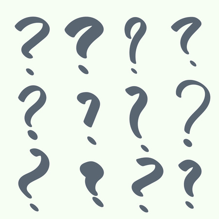 question marks: Set of handwritten question marks. Help symbol. FAQ sign on background.  Illustration