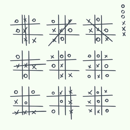Crosses: Hand drawn tic-tac-toe elements.  Grid game, cross, toe. Strategy for Victory