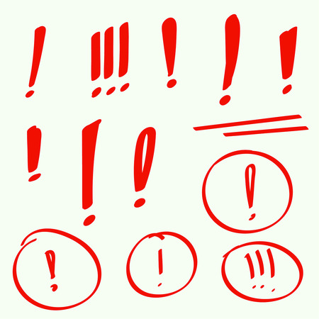 exclamation point: Set hand drawn Exclamation mark. Attention sign icon. Hazard warning symbol. vector