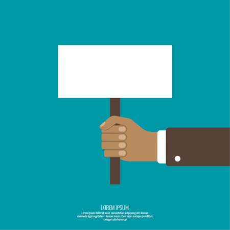 Hand holding a blank placard. Place in the ad, advertising statements, saying.  protest board in flat style Illustration