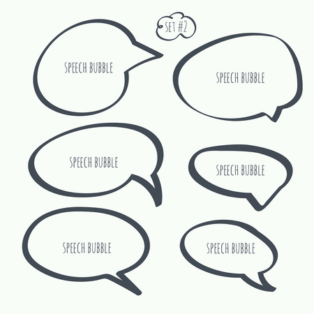 Set hand drawn speech bubble. Vector. Elements for text  イラスト・ベクター素材