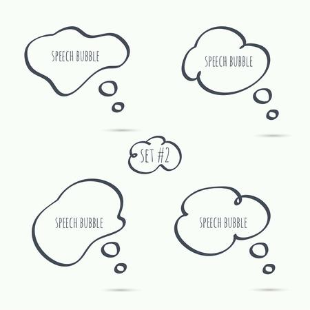 maleza: Mano dibujada Establecer la burbuja del discurso. Vector. Elementos para el texto