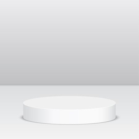 exposition: Round pedestal for display. Platform for design. Realistic 3D empty podium Illustration