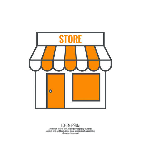 grocery store: Facade of shops, supermarkets, marketplace. Pictogram icon Building. minimal, outline.