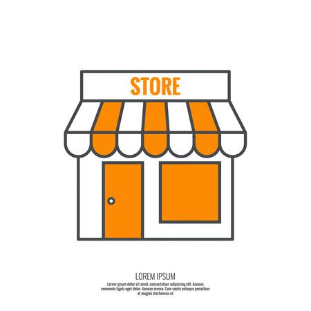 Gevel van winkels, supermarkten, markt. Pictogram pictogram Building. minimaal, schets. Stock Illustratie