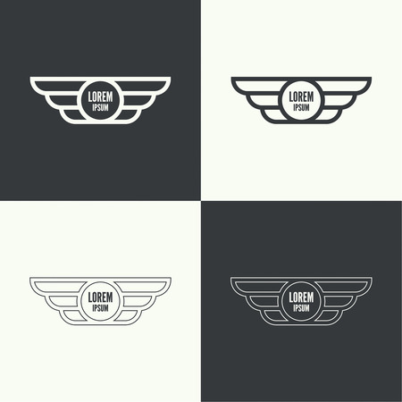 airway: Badge and shield with wings. Symbol of military and civil aviation. Outline  emblems Illustration