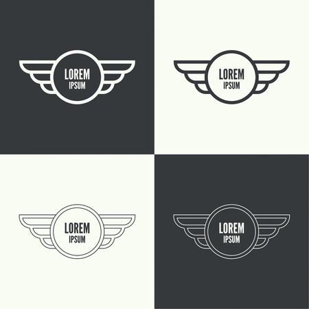 falcon: Badge and shield with wings. Symbol of military and civil aviation. Outline  emblems Illustration