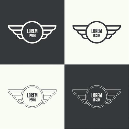 piloto: Insignia y el escudo con alas. Símbolo de la aviación militar y civil. Emblemas Outline