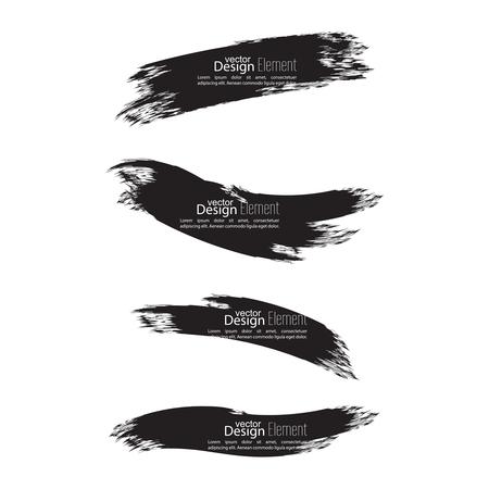 smears: Set of hand drawn grunge brush smears. dark color Illustration