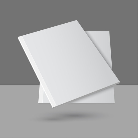 blank magazine: Hovering Blank empty magazine or book or booklet, brochure, catalog, leaflet, template on a gray background.
