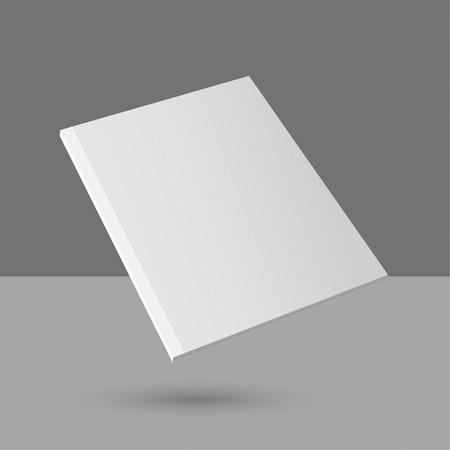 Al pasar revista en blanco vacío o libro o folleto, folleto, catálogo, folleto, plantilla sobre un fondo gris. Logos