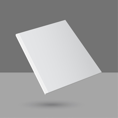 Hovering Blank empty magazine or book or booklet, brochure, catalog, leaflet, template on a gray background.