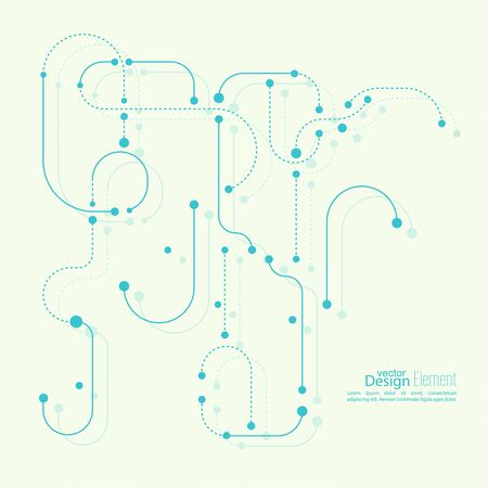 Abstract background with curved lines, dotted lines and dots. flat design. vector.