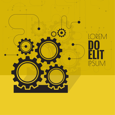 engineering design: Gears symbol. Concept of motion and mechanics, connection and operation engineering design work. vector. Flat design with shadow