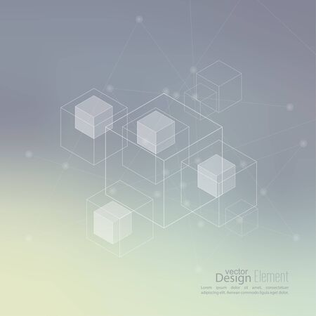 neat: Abstract neat Blurred Background with transparent cubes, hexagons carcass. Illustration