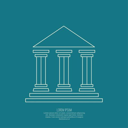 law library: Abstract background with ancient building with columns and roof.