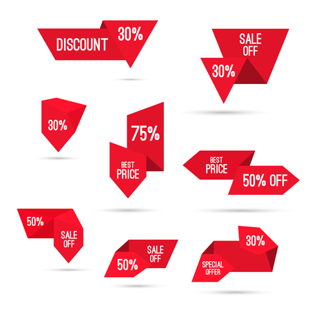 discount: Set tags with ribbons and labels.