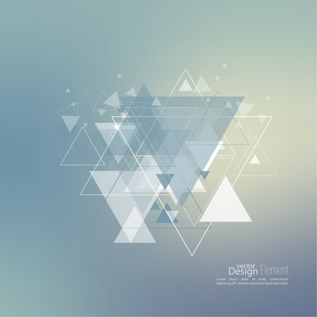 Abstract blurred background with hipster stream flying triangles debris.  Illustration