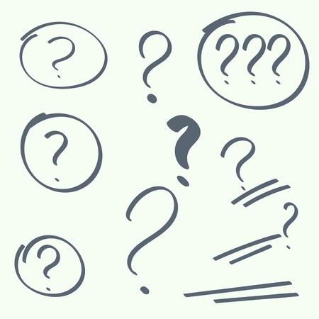 punto interrogativo: Impostare ovali disegnati a mano, punti di domanda. simbolo di aiuto. FAQ cartello su sfondo. Vettoriali