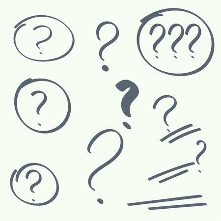 interrogation: Set hand drawn ovals, question marks. Help symbol. FAQ sign on background.  Illustration