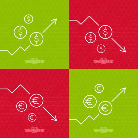 perdidas y ganancias: Conjunto de cambio gráficos que indican el crecimiento y una caída en los precios y los beneficios. El ascenso y la caída de los activos a través de inversiones.