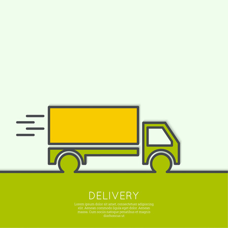 moving truck: Freight transport. Concept delivery service. Truck delivers the goods. Outline. minimal. Illustration