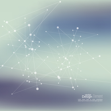 the particles: Virtual abstract background with particle, molecule structure. genetic and chemical compounds.  Space and constellations. Science and connection concept. Social network. Blurry soft creative vector.
