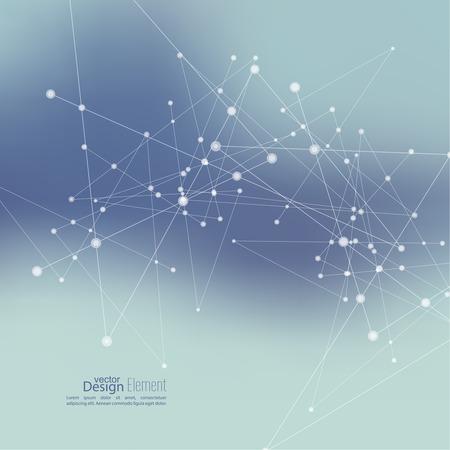 Fondo abstracto Virtual con partículas, estructura de la molécula. compuestos genéticos y químicos. Espacio y constelaciones. Ciencia y concepto de conexión. Red social. Borrosa vectorial creativa suave.