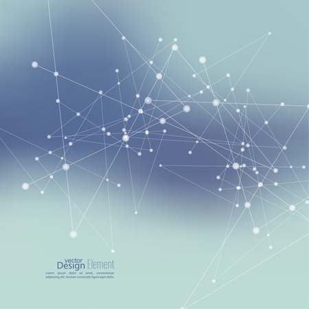 comunicación: Fondo abstracto Virtual con partículas, estructura de la molécula. compuestos genéticos y químicos. Espacio y constelaciones. Ciencia y concepto de conexión. Red social. Borrosa vectorial creativa suave.