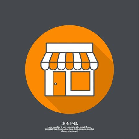 Facade of shops, supermarkets, marketplace. Pictogram icon Building. minimal, outline. button with flat shadow for the Web and mobile applications