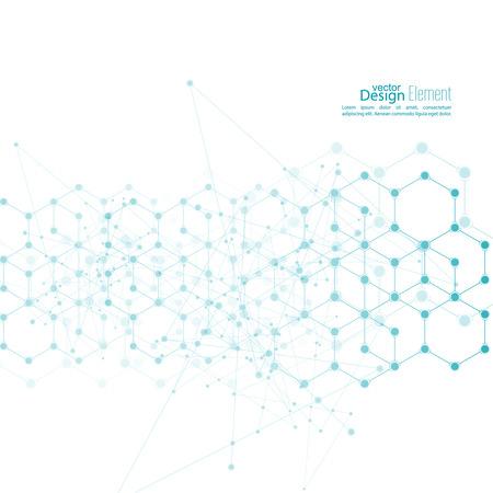 Virtuele abstracte achtergrond met deeltje, molecule structuur. genetische en chemische verbindingen. creatieve vector. Wetenschap en verbinding concept. Sociaal netwerk. kristallen cel
