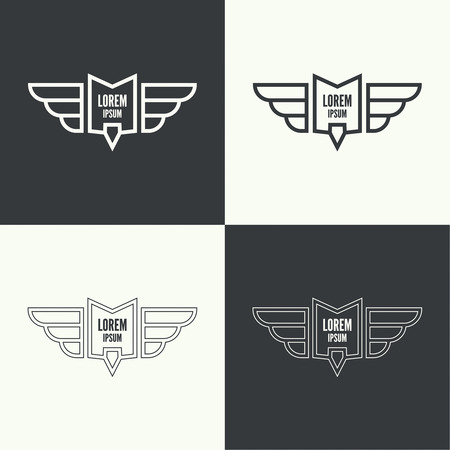 pilot wings: Badge and shield with wings. Symbol of military and civil aviation. Outline  emblems Illustration