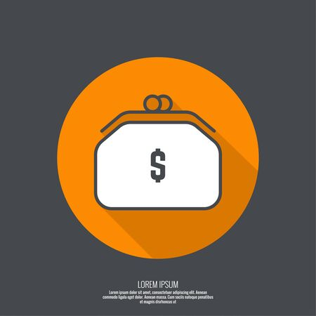 money button: Female purse for money. The concept of trade and purchase. Cash sale.  flat design. minimal, outline. Pictogram. button with flat shadow for the Web and mobile applications Illustration