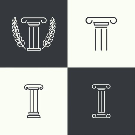 corinthian column: set of vector icons. Antique column. Pedestal. The concept of stability and inviolability. Historical values.  simple design