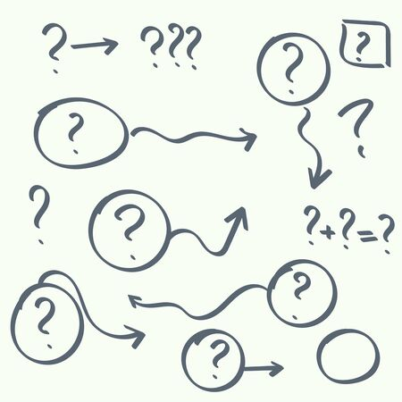 quality questions: Set hand drawn ovals, question marks. Help symbol. FAQ sign on background. vector